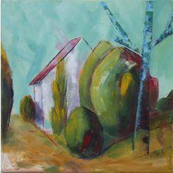 Kétvölgyi ház, tájkép, feszített vászon.