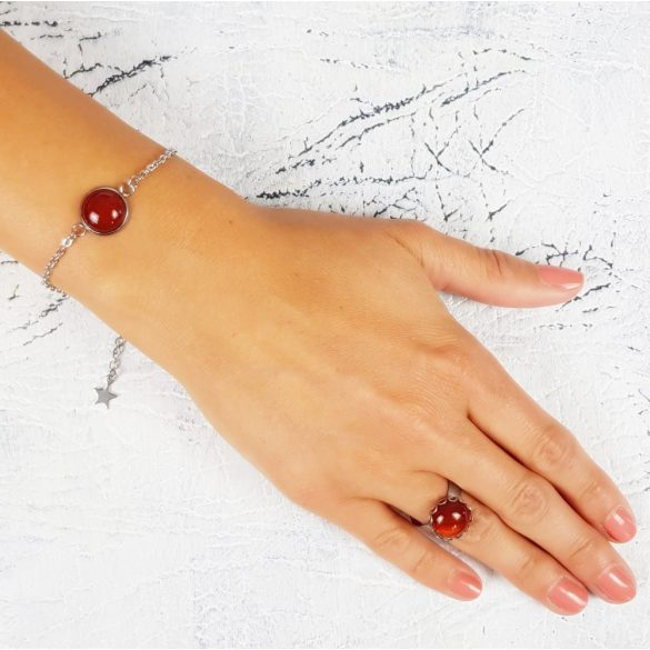 Minimalista, ékszer, szett, nyaklánc, fülbevaló, karkötő, gyűrű, vörösbarna, nemesacél, vörös karneol
