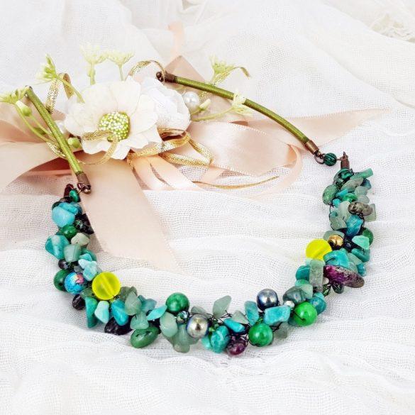"""""""Aranyló Szamba"""", nyaklánc, különleges, ajándék fülbevaló, opál, amazonit, jade, malachit, hematit, zöld, arany"""