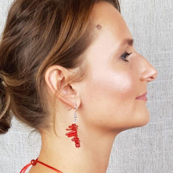 """Vörös """"Korall Keringő"""" fülbevaló, ékszer, vörös, nemesacél, korall, esküvő, menyecske"""