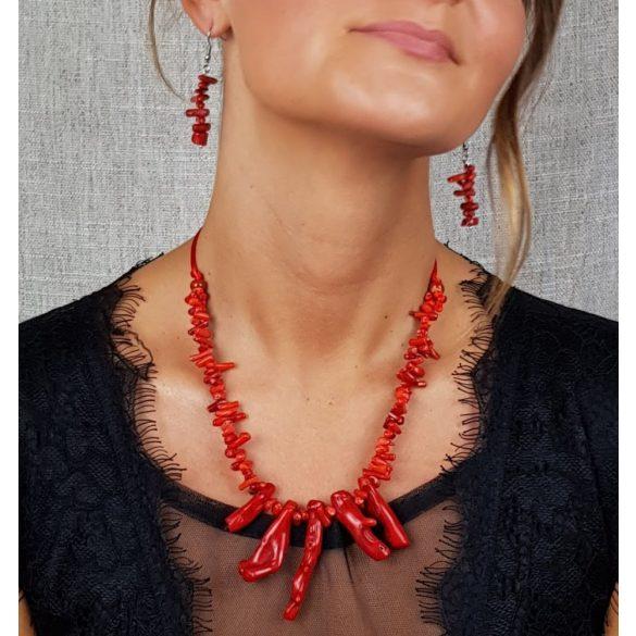 Vörös korall, ásvány, fülbevaló, nemesacél, menyecske, ékszer