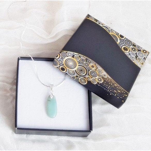 Nyaklánc, ezüst, amazonit, zöld, minimalista