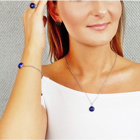 Minimalista, ékszer, szett, nyaklánc, fülbevaló, karkötő, gyűrű, kék, nemesacél, lapis-lazuli