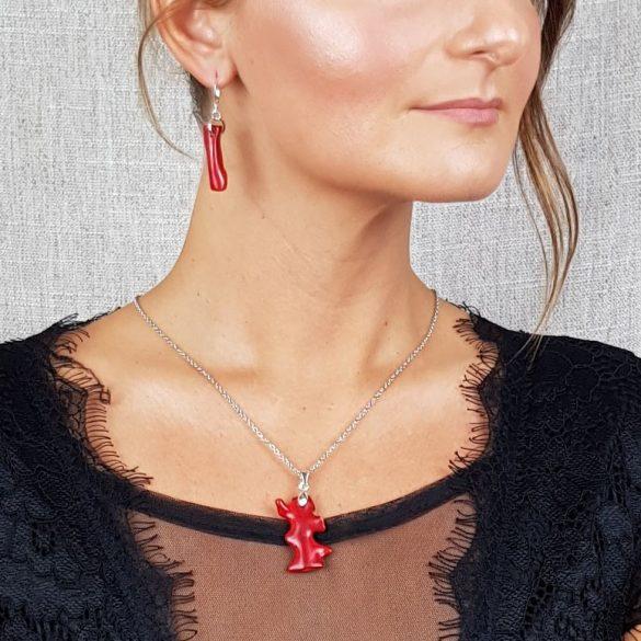 Vörös korall, ásvány, minimalista, nemesacél, menyecske, ékszer