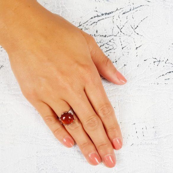 Minimalista, szabályozható, gyűrű, vörösbarna, nemesacél, vörös karneol