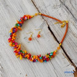 Korall, ásvány, nyaklánc, színes, sárga, ajándék fülbevaló