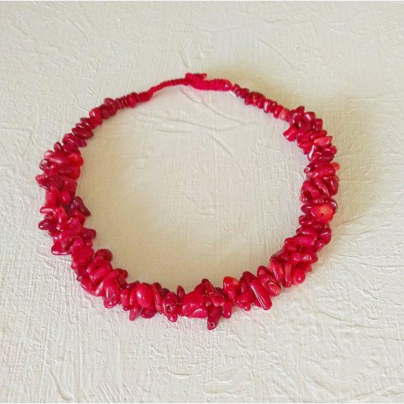 Antiallergén ékszer, menyecske ékszer, vörös, korall, esküvő, nyaklánc