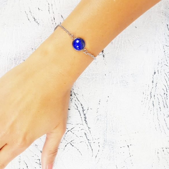 Minimalista, karkötő, kék, nemesacél, lapis-lazuli