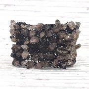 Karkötő, fekete, ásvány, egyedi, kézműves, ásvány, rozsdamentes bevont ékszerdrót, mandzsetta karkötő