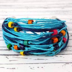 Karkötő, kék, színes, egyedi, kézműves, spárga, fa gyöngy, Antal Ékszer