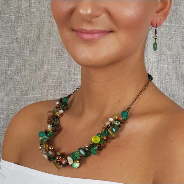 """""""Aranyló Szamba"""", nyaklánc, ajándék fülbevalóval, achát, tigrisszem, kristály, hematit, zöld, barna, arany"""