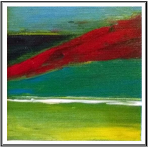 Vörös szél,absztrakt festmény, vászon.