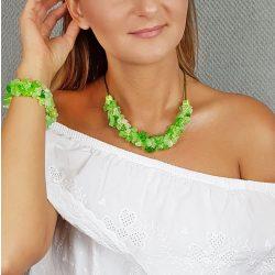 Antiallergén ékszer, achát, ásvány, egyedi, fémmentes, zöld, nyaklánc, ásvány karkötő