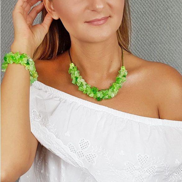 Antiallergén ékszer, achát, ásvány, egyedi, fémmentes, zöld, nyaklánc, ásvány karkötő, pamut fonal