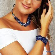 """Lápisz lazuli, ásvány, ékszer, szett, kék, egyedi, fémmentes, antiallergén, nyaklánc, karkötő, pamut fonal, gyöngy, """"Üde Zumba"""" kollekció"""