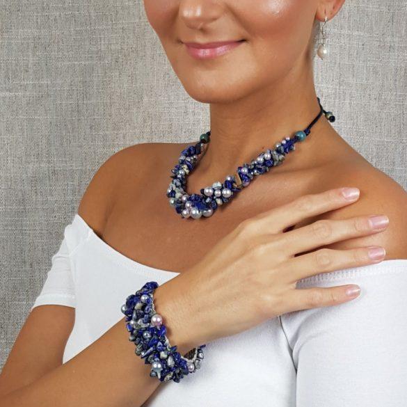 Antiallergén ékszer, lápisz lazuli, ásvány, fémmentes, nyaklánc, ásvány karkötő