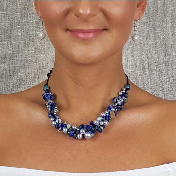Antiallergén ékszer, lápisz lazuli, ékszer, szett, kék, egyedi, fémmentes, nyaklánc, ásvány karkötő, pamut fonal, gyöngy