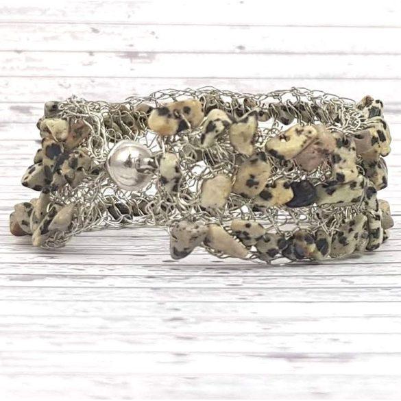 Karkötő, fekete, szürke, egyedi, kézműves, természetes kő, rozsdamentes ékszerdrót
