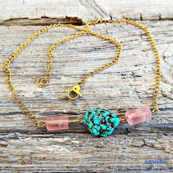 Türkiz, rózsakvarc, ásvány, nemesacél, nyaklánc, antiallergén, minimalista, ékszer