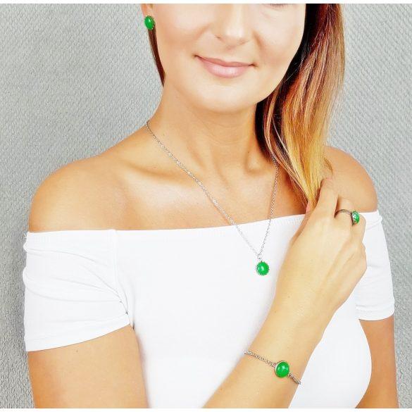 Minimalista, ékszer, szett, nyaklánc, fülbevaló, karkötő, gyűrű, zöld, nemesacél, amazonit