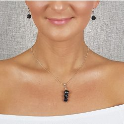 Édesvízi gyöngy, nyaklánc, fekete, minimalista