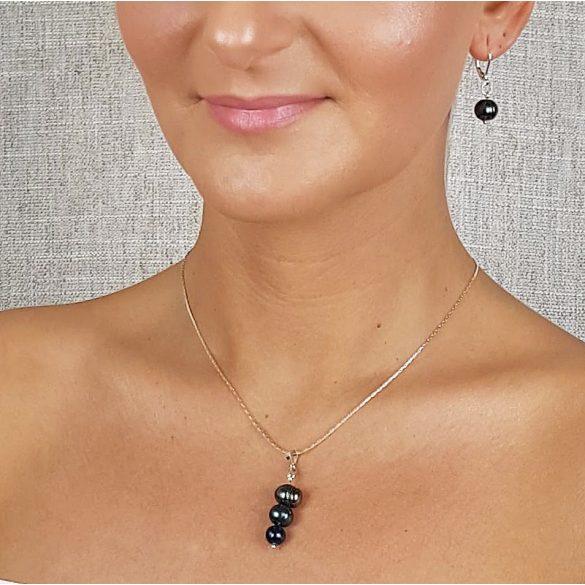 Édesvízi gyöngy, minimalista, nyaklánc, fekete