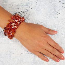 Ásvány karkötő, vörös karneol, ékszer, egyedi, kézműves, fémmentes, antiallergén, pamut fonal