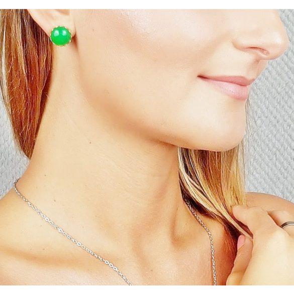 Minimalista, fülbevaló, zöld, beszúrós, nemesacél, amazonit