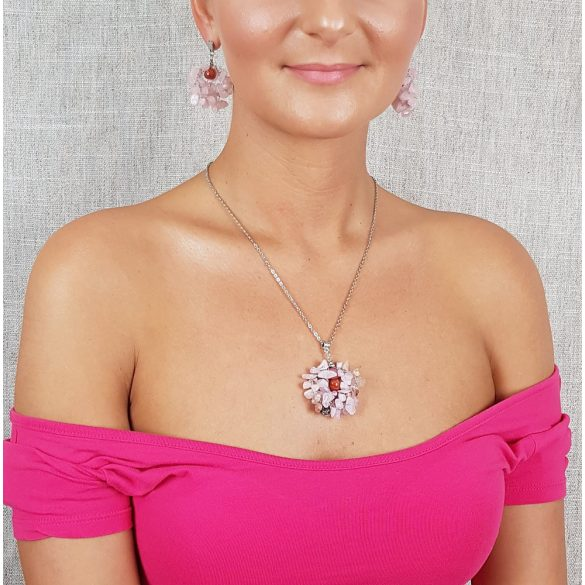 """""""Rózsaszín Sztepp"""", fülbevaló, ékszer, ezüst, rózsakvarc, nemesacél, esküvő, koszorúslány"""