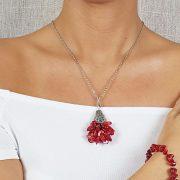 """Vörös """"Korall Keringő"""" nyaklánc, ékszer, vörös, korall, nemesacél, esküvő, menyecske"""
