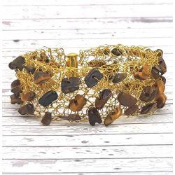Karkötő, arany, barna, egyedi, kézműves, ásvány, rozsdamentes ékszerdrót