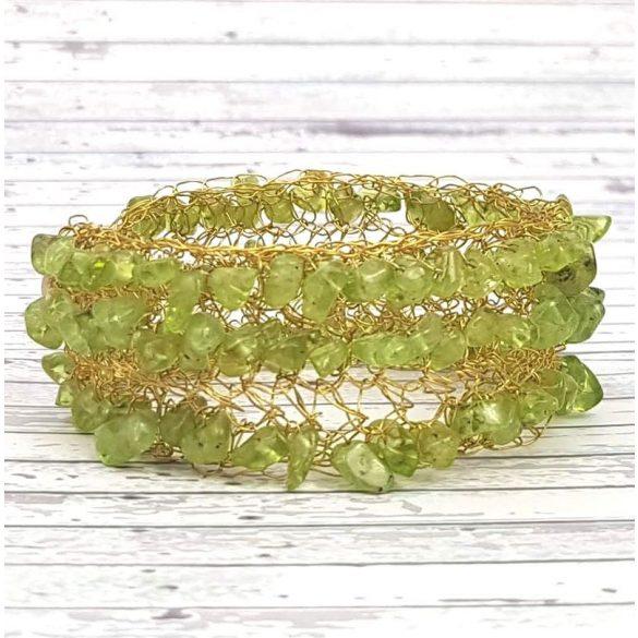 Karkötő, arany, zöld, egyedi, kézműves, ásvány, rozsdamentes ékszerdrót
