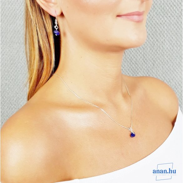 Minimalista, nyaklánc, ezüst, lápisz lazuli, kék