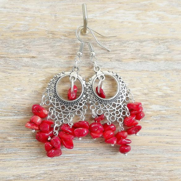 Vörös korall, ásvány fülbevaló