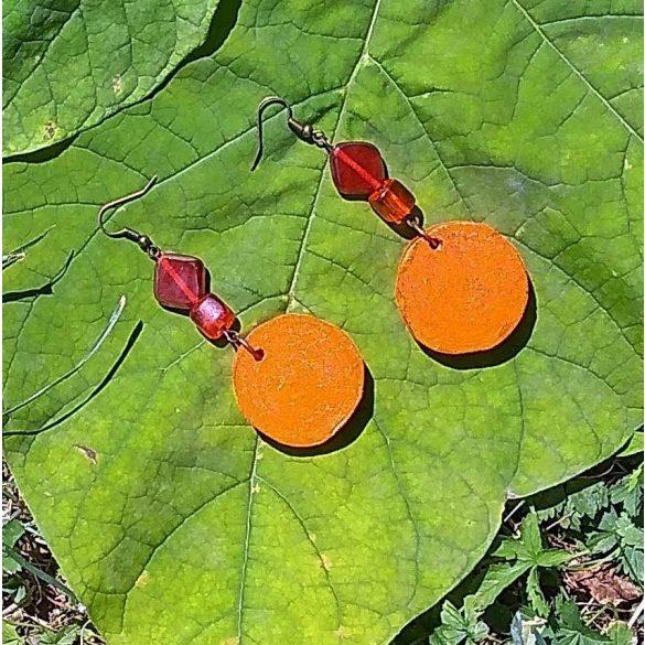 Környezetbarát, újrahasznosított fa, uszadékfa, gyöngy, statement, fülbevaló, narancs, környezettudatos ékszer