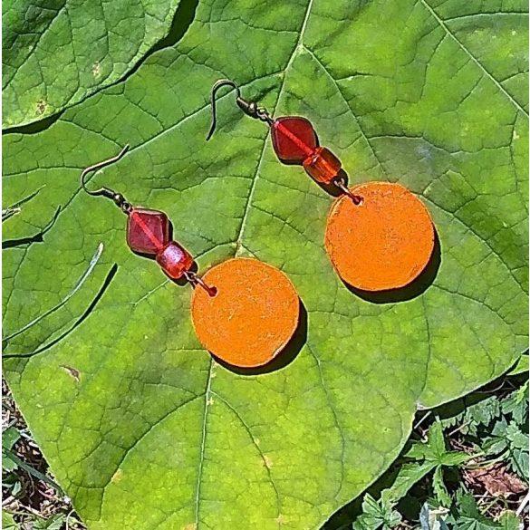 Fa ékszer, környezetbarát, újrahasznosított fa, uszadékfa, gyöngy, statement fülbevaló, narancs, környezettudatos ékszer