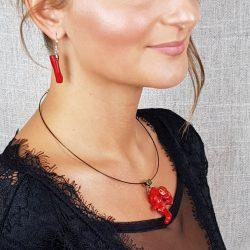 Vörös korall, ásvány,  nyaklánc, minimalista, menyecske ékszer
