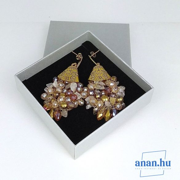 Antiallergén, fülbevaló, ékszer, ajándék nőknek, egyedi, kézműves, kristály, hematit, arany
