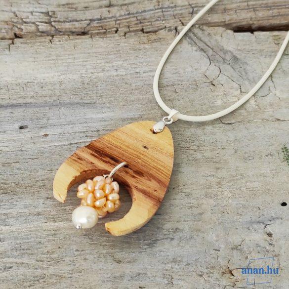 Uszadékfa, nyaklánc, újrahasznosított fa, környezetbarát, öko ékszer, Gyöngygolyó