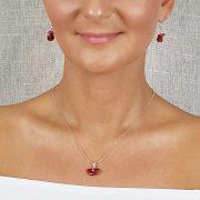 """Vörös """"Korall Keringő"""", nyaklánc, ékszer, minimalista, ezüst, korall, esküvő, menyecske"""