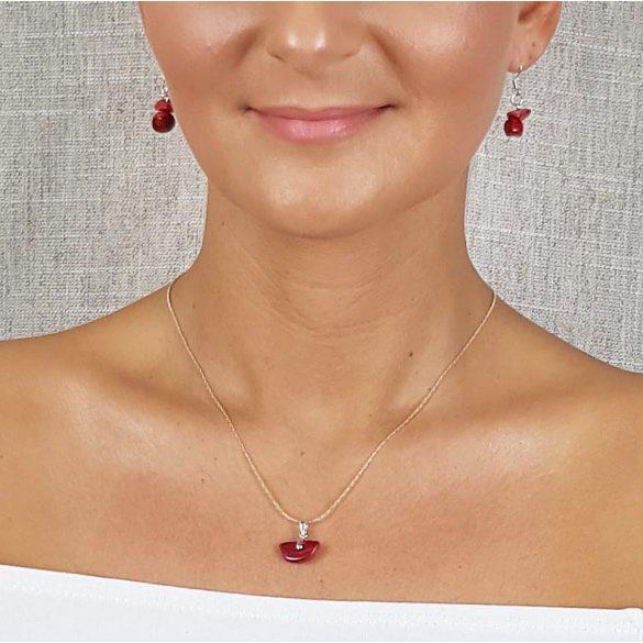 Vörös korall, ásvány, nyaklánc, minimalista ékszer, ezüst, esküvő, menyecske