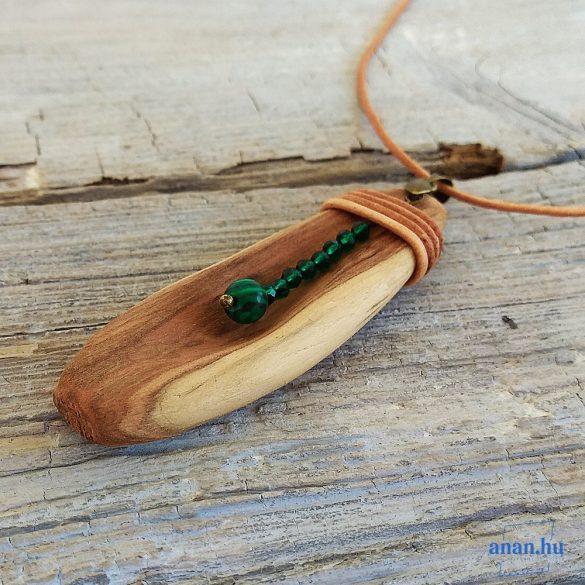 Fa nyaklánc, uszadékfa, újrahasznosított fa, környezetbarát, öko ékszer, Drágakő