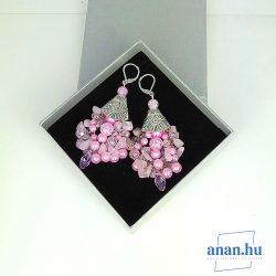 Antiallargén, fülbevaló, kristály rózsakvarc, egyedi, kézműves, ékszer